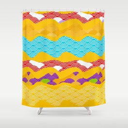 Summer bright pattern  scales simple Nature background with Chinese wave circle pattern Shower Curtain