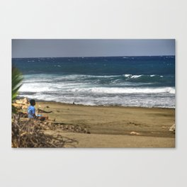 Boy contemplating the endless waves - Beach PR Canvas Print