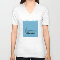 the whale V-neck T-shirts featuring whale by Tina Siuda