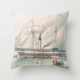 Vintage Illustration of The President's Steamship (1840) Throw Pillow