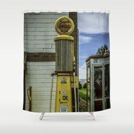 Vintage Shell Gas Pump Shower Curtain