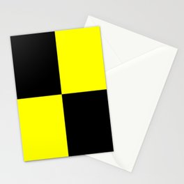 Bright Fluorescent Yellow Neon & Black Checked Checkerboard Stationery Cards