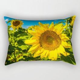 Here Comes the Sun - Giant Sunflower on Sunny Day in Kansas Rectangular Pillow