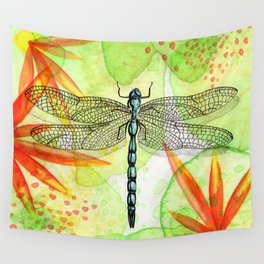 Dragonfly Lilly Art (Watercolor & Ink) Wall Tapestry
