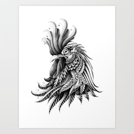 Ornately Decorated Rooster Art Print