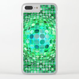 Optical Illusion Sphere - Green Clear iPhone Case