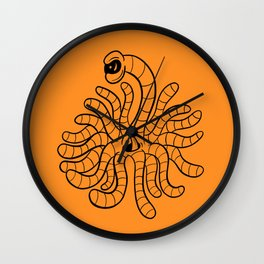 Tentacle One Eye Grouch Monster in Orange Wall Clock