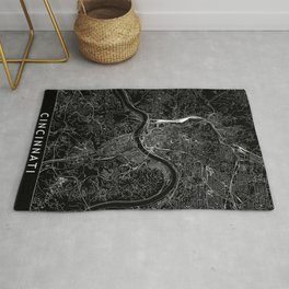 Cincinnati Black Map Rug