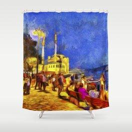 Istanbul At Night Van Gogh Shower Curtain
