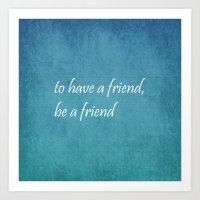 friendship Art Prints featuring Friendship by Lyle Hatch