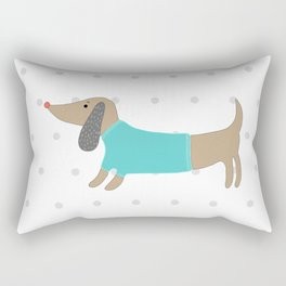 Cute hand drawn dog in dotted background Rectangular Pillow