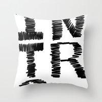 introvert Throw Pillows featuring Introvert by Lizzi Davis