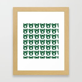 Dark green bear illustration Framed Art Print