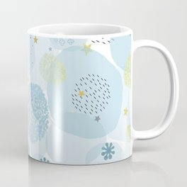 Blue baby shower greeting card with square, stars, hearts Coffee Mug