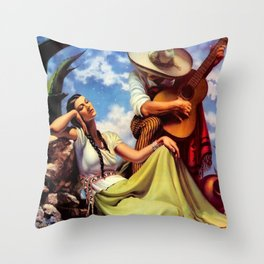 Love and Spanish Guitar under Sonoran Desert Skies by Jesus Helguera Throw Pillow