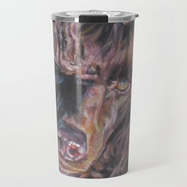 poodle dog portrait from an original painting by L.A.Shepard Travel Mug