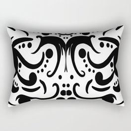 A Moderate Abstraction: Black and White Rectangular Pillow
