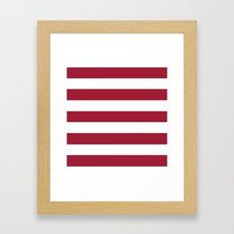 Vivid burgundy - solid color - white stripes pattern Framed Art Print