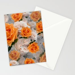 CORAL ROSES AND CHERRY BLOSSOMS Stationery Cards