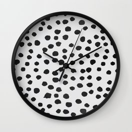 watercolor black polka dots Wall Clock