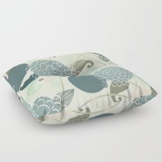 Abstract Floral Blue by Friztin Floor Pillow