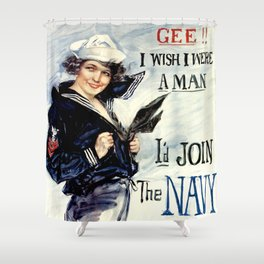 Vintage U.S. Navy Recruitment Poster Shower Curtain