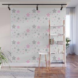 Pink Grey Gray Stars Wall Mural