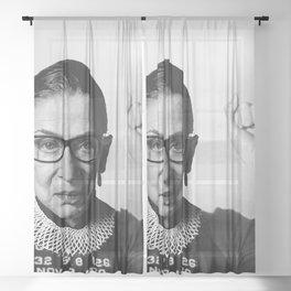 RBG Ruth Bader Ginsburg Drawing Jane Fonda Mug Shot Mugshot Sheer Curtain