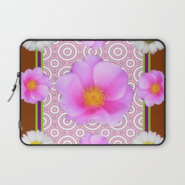 Coffee Brown Shasta Daisy Pink Roses Abstract Art Laptop Sleeve