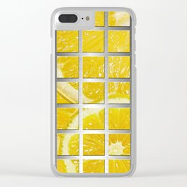 Lemon Slices & Square Grid Collage Metallic Clear iPhone Case