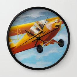 Yellow Plane, Blue Sky Wall Clock