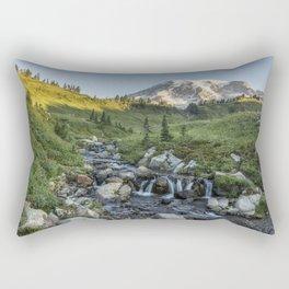 Early Morning Light on Mt Rainier above Edith Creek Rectangular Pillow