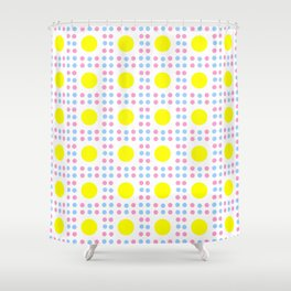new polka dot 10 - Pink, blue and yellow Shower Curtain