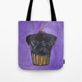 """Cherry on Pup"" Black Pug Cake Tote Bag"