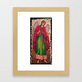 Archangel Gabriel Fresco With A Crackled Finish for #Society6 Framed Art Print