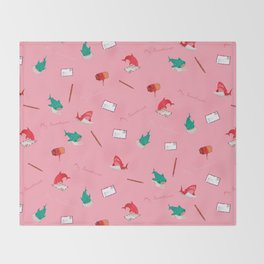 Pink Shark and Whale Shark Throw Blanket