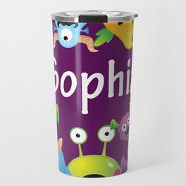 Cute & lovely monsters - Sophia (purple background) Travel Mug