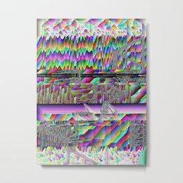 glitch art waves acid trip abstract space pixel rainbow 90s oldschool Metal Print