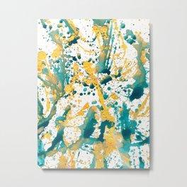 Teal and Gold Splatter Paint  Metal Print