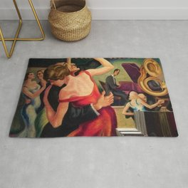 Classical Masterpiece Couple Dancing to Favorite Song by Thomas Hart Benton Rug