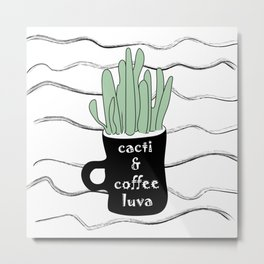 Cacti & Coffee LUVA - Digital Vector Illustration Home Goods Design Metal Print