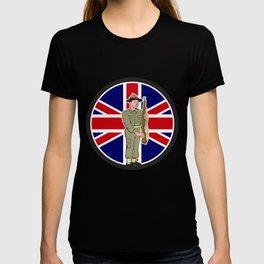 British World War II Soldier Union Jack Flag Cartoon T-shirt