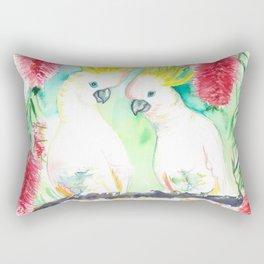 Cockatoos in bottle brush tree Rectangular Pillow