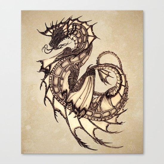 """Tsunami"" by Amber Marine ~ Sea Dragon ~ Graphite & Charcoal Illustration, (c) 2005 Canvas Print"