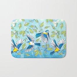 Flying Birds and Oak Leaves Border Bath Mat