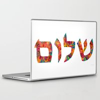 jewish Laptop & iPad Skins featuring Shalom 12 - Jewish Hebrew Peace Letters by Sharon Cummings