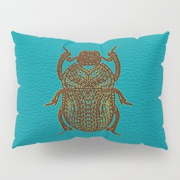 Egyptian Scarab Beetle - Leather & Gold on teal Pillow Sham