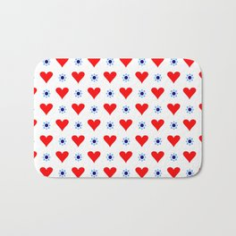 heart and star 5 - blue star and red heart Bath Mat
