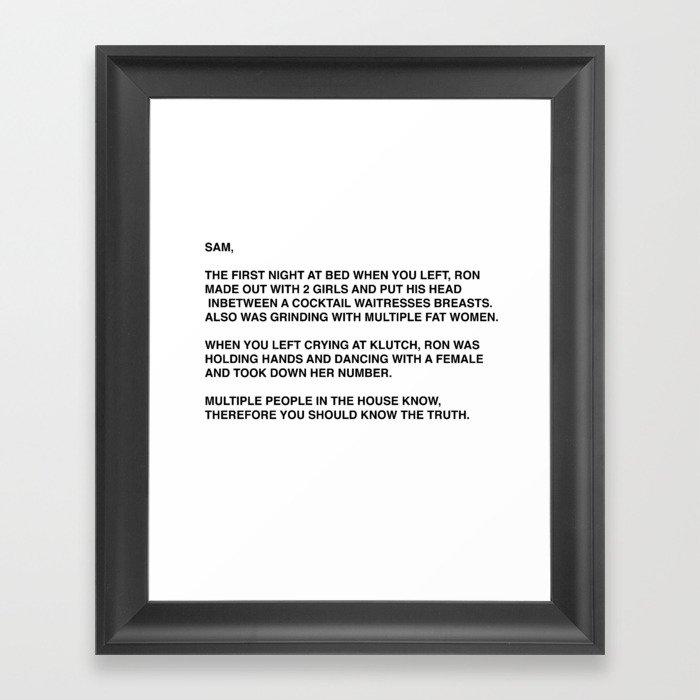 Anonymous Letter To Sammi Sweetheart Jersey Shore Gerahmter Kunstdruck