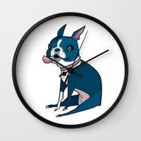 boston terrier Wall Clocks featuring Boston Terrier by breakfastjones